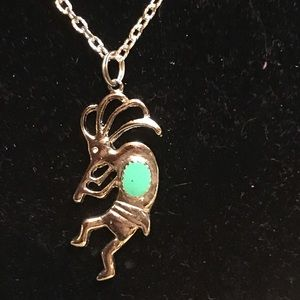 Silver tone and enamel Kokopelli necklace